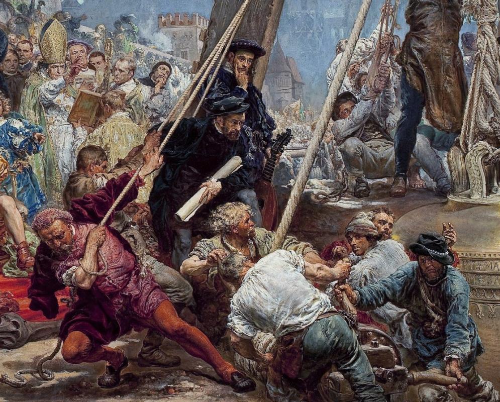 Ян Матейко. Подвешивание колоколов Зигмунта на башню собора в Кракове в 1521 году. Фрагмент III