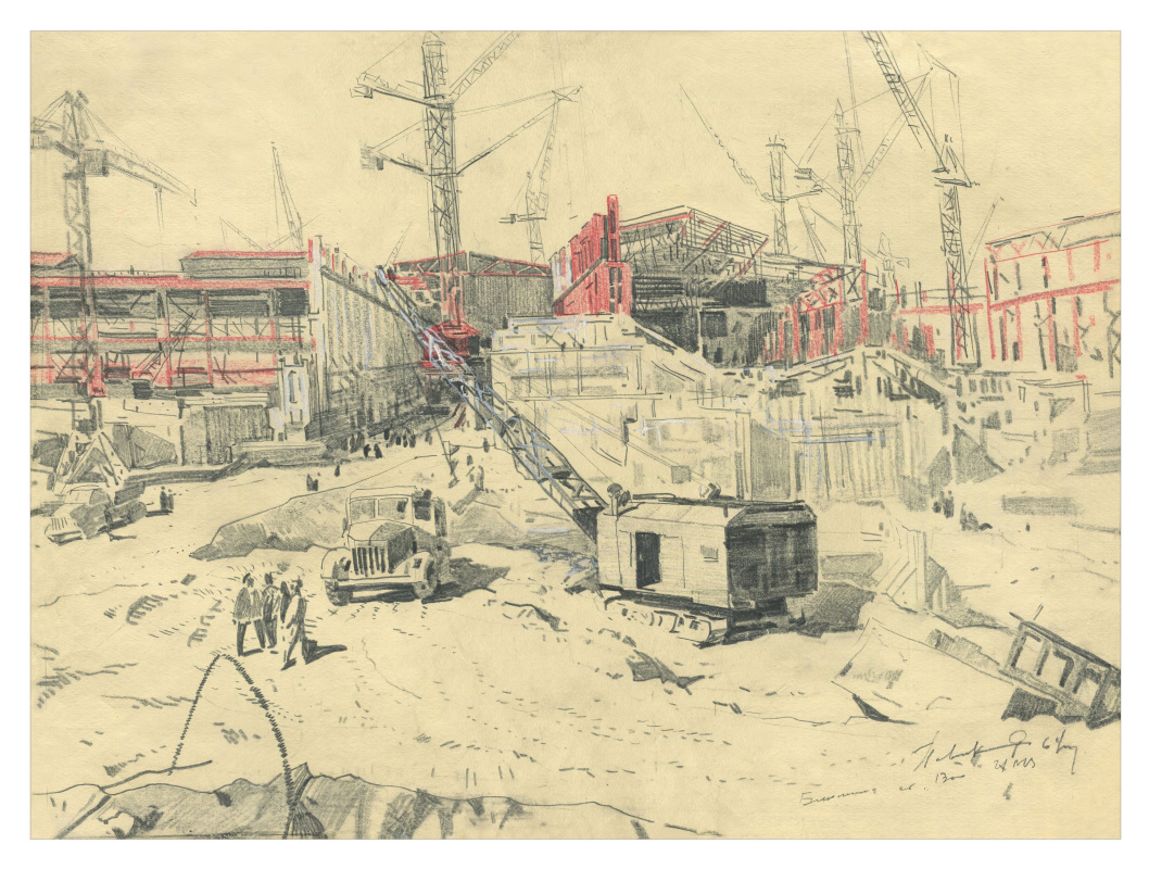 Alexandrovich Rudolf Pavlov. Sketch of the construction of the ChMZ plant. 1964
