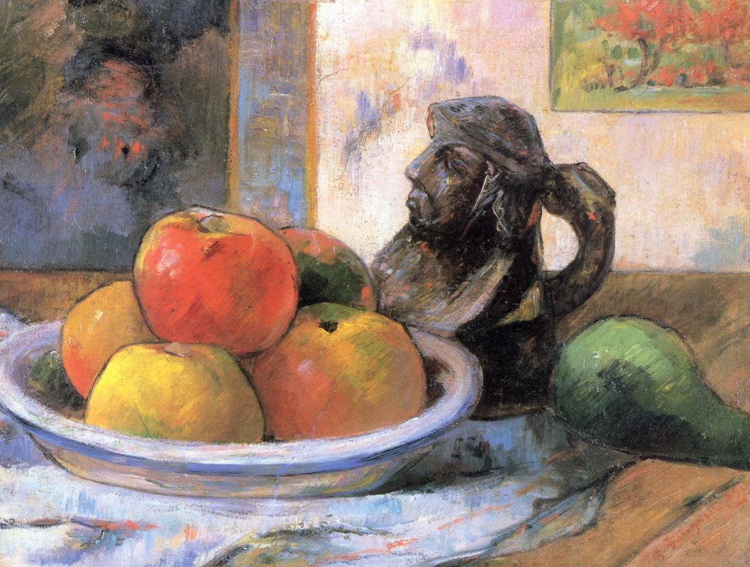 Поль Гоген. Натюрморт с яблоками, грушей и кувшином