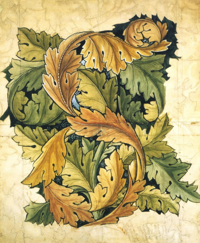 William Morris. Interlaced leaves. Sketch