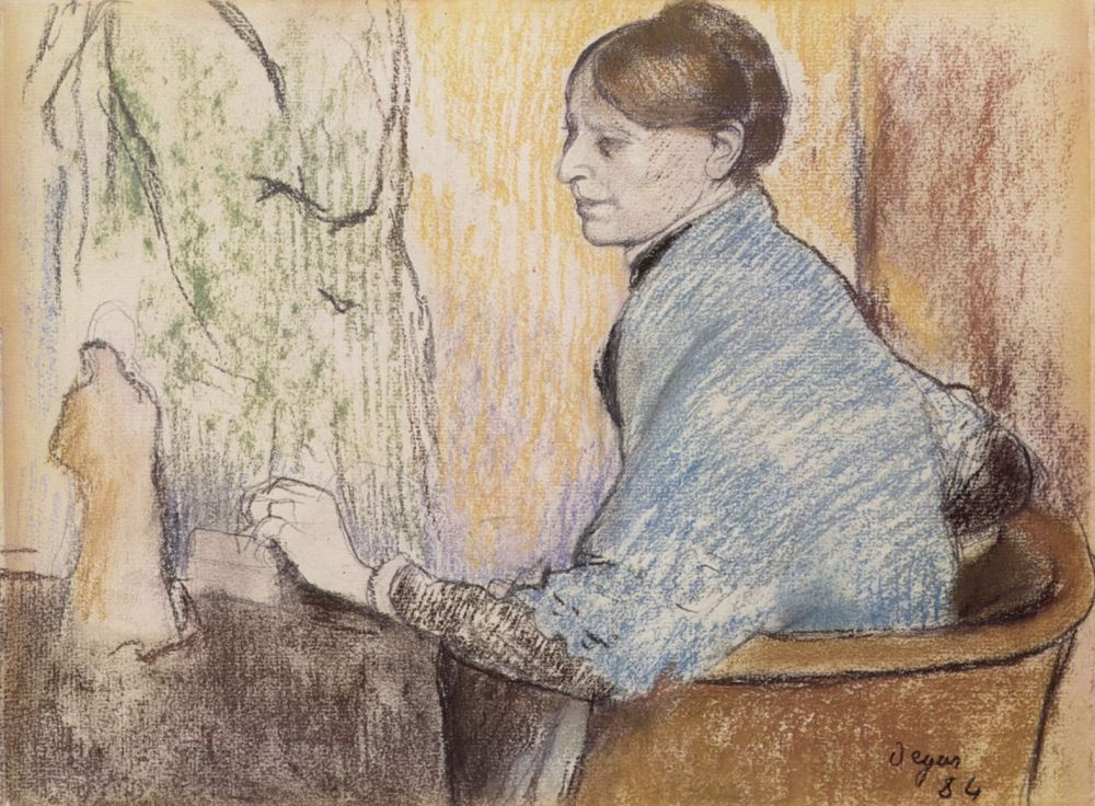 Edgar Degas. Madame Henri Ruard with a figurine from Tanagra