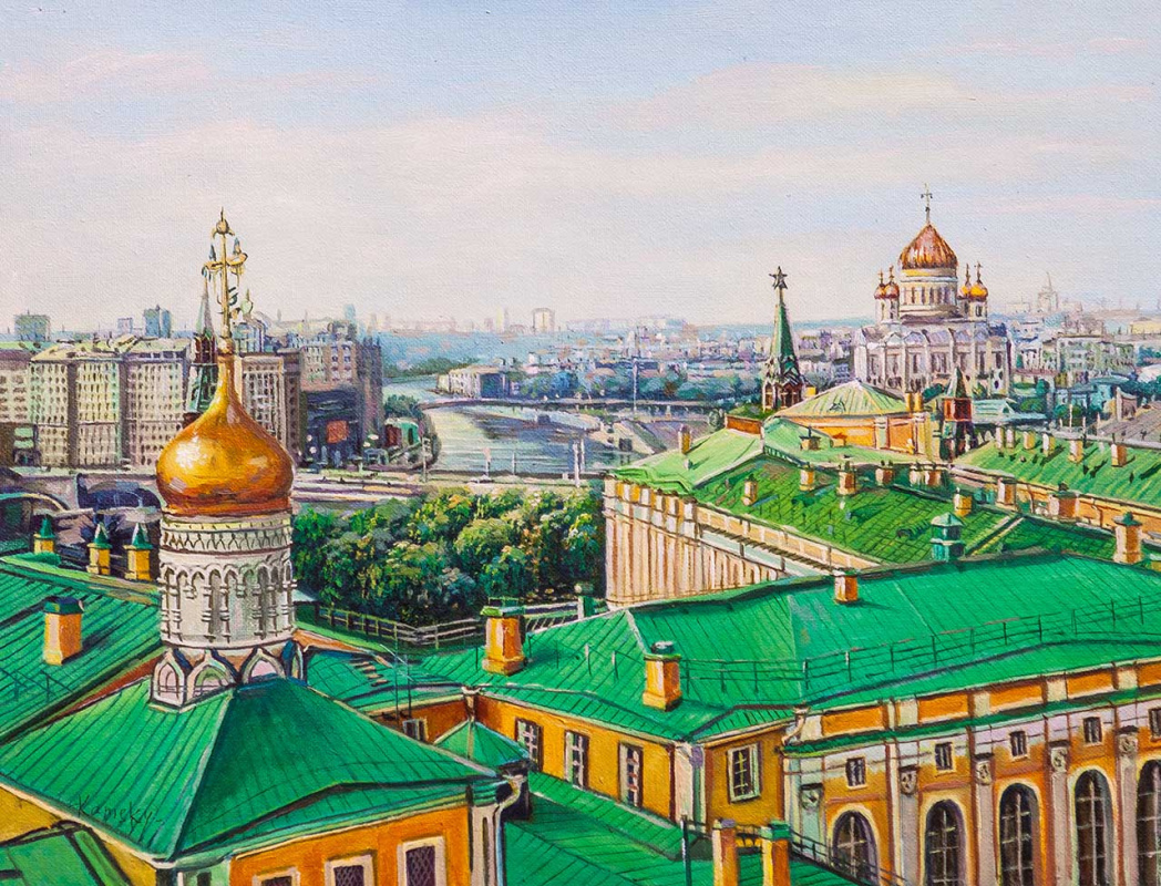 Savely Kamsky. Walking on the rooftops of Moscow. View of the Cathedral of Christ the Savior
