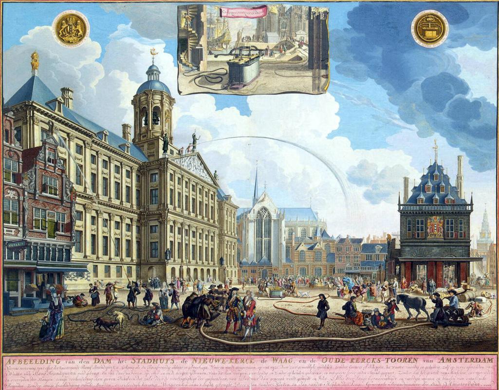 Ян ван Вианен. Испытание пожарного насоса на площади Амстердама