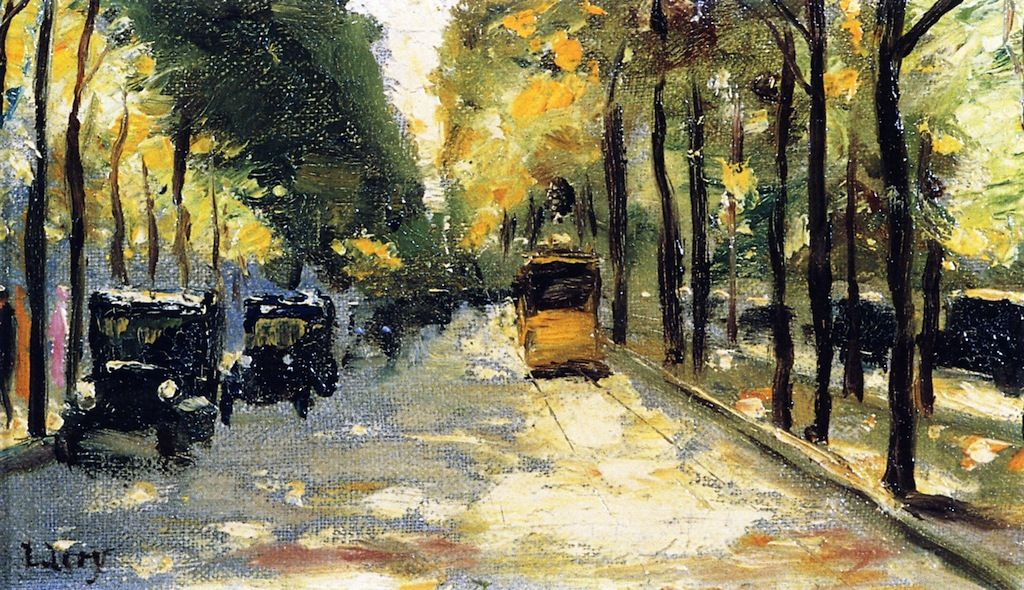 Lesser Ury. The streets of Berlin in the sunlight