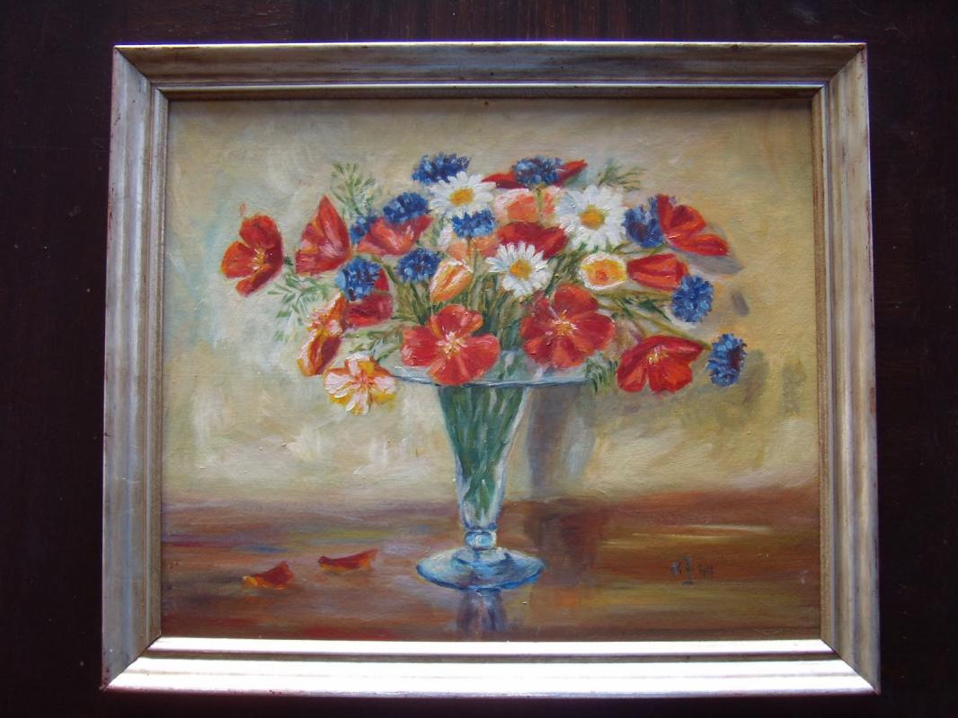 Неизвестный  художник. Натюрморт с цветами.