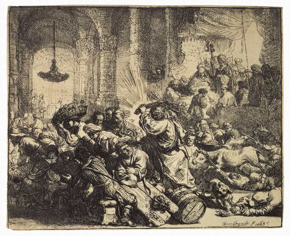 Рембрандт Ван Рейн. Христос, изгоняющий торгующих из храма