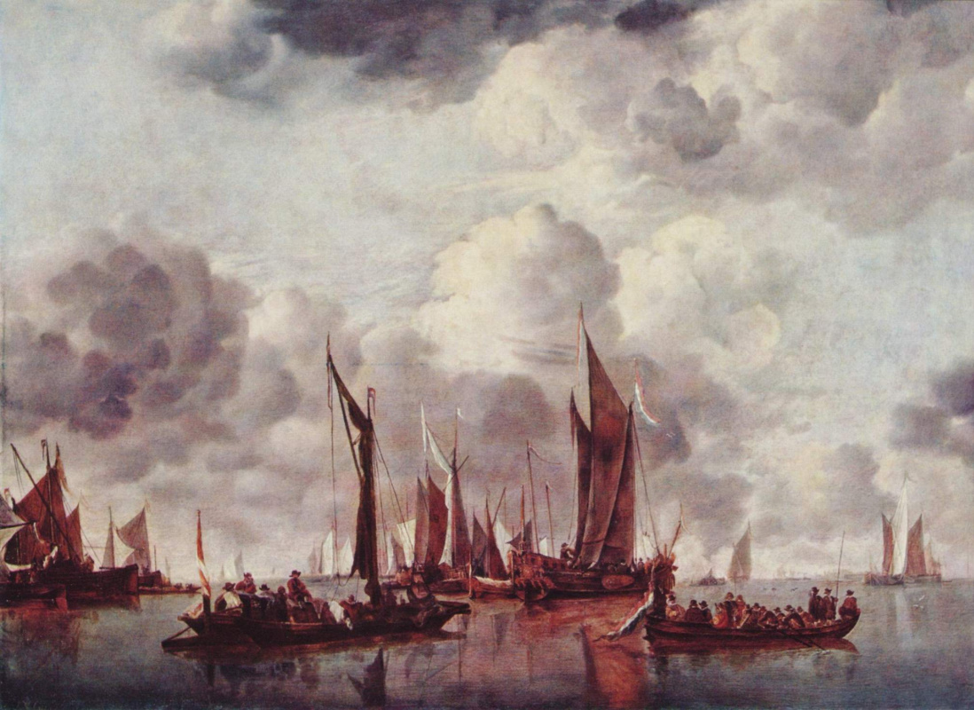 Jan van de Capelle. Sailboats in the Harbor