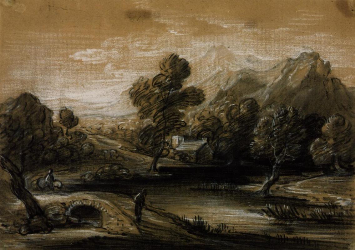 Thomas Gainsborough. Landscape with river, bridge and Church