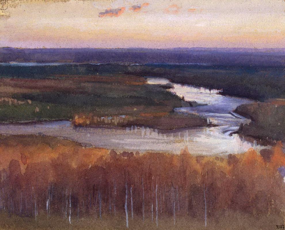 Ээро Николаи Ярнефельт. Речной пейзаж осенью