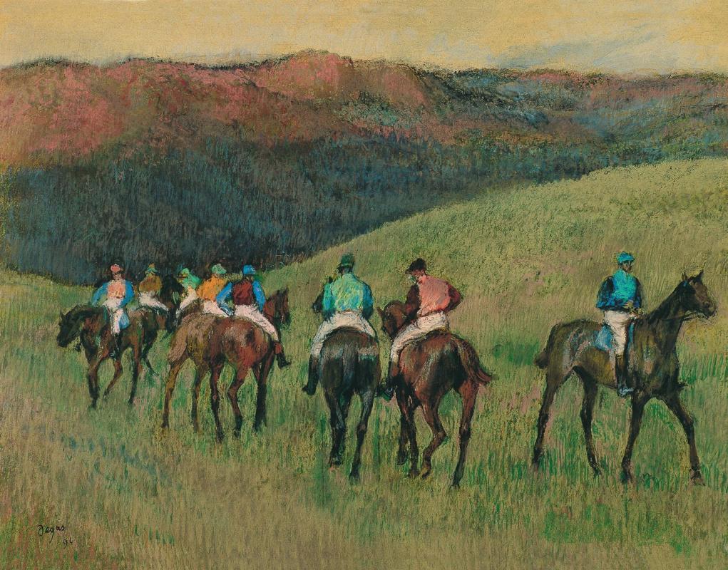 Edgar Degas. Jockeys in training