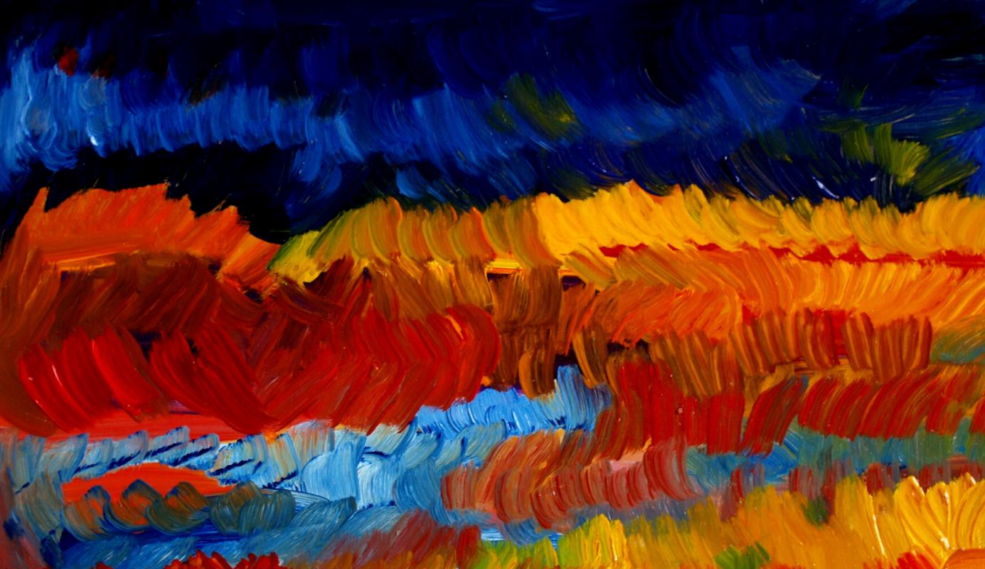 Alexander Ocher Kandinsky-DAE. Sunset. (Kvarkush. Series - Ural Mountains). Fragment