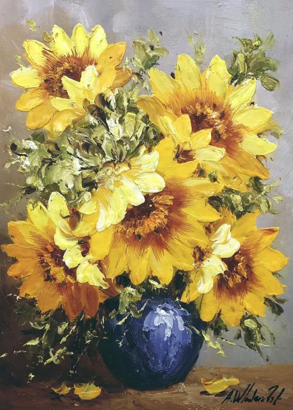 Andrzej Wlodarczyk. Sunflowers in a blue vase