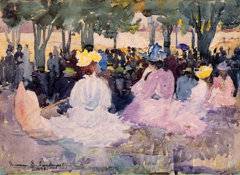 Maurice Braziel Prendergast. Figures on the grass