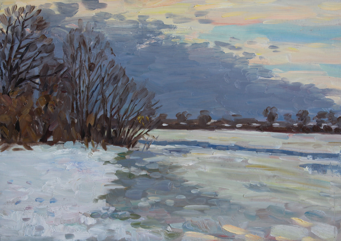 Eugene Alexandrovich Kazantsev. Waiting for Spring. On the Oka.