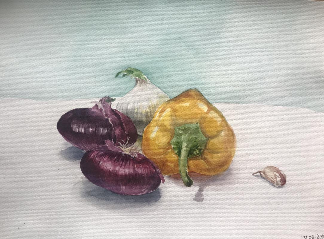 Katerina Shilo. Still life with onions
