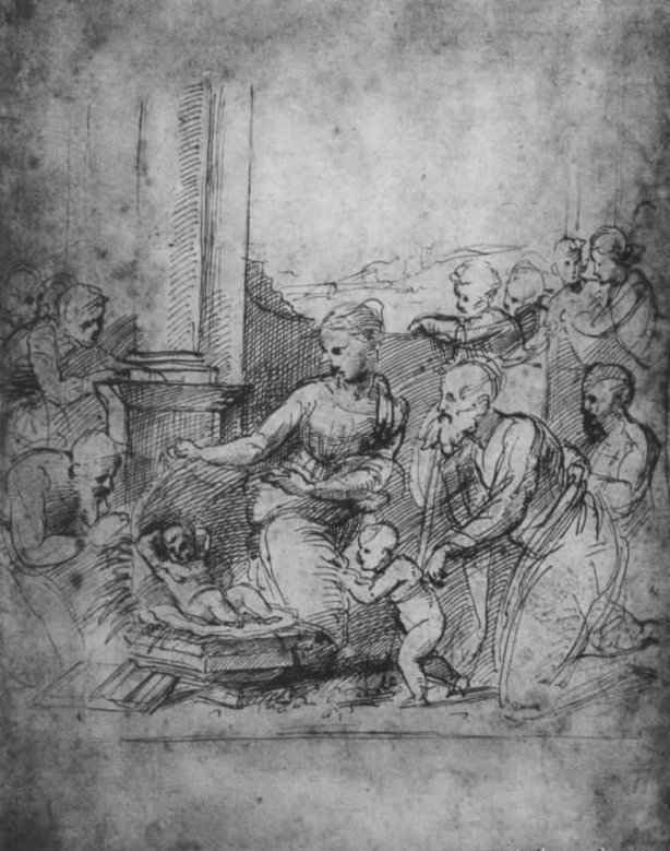 Raphael Sanzio. Etude: the adoration of baby Jesus