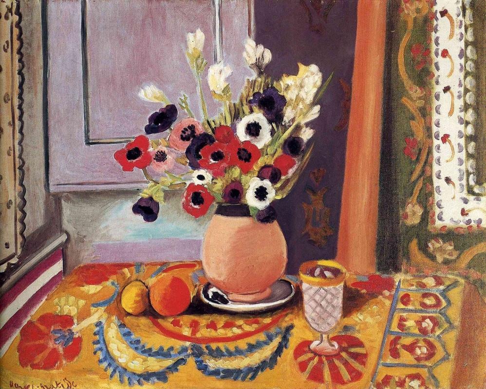 Анри Матисс. Натюрморт с вазой цветов