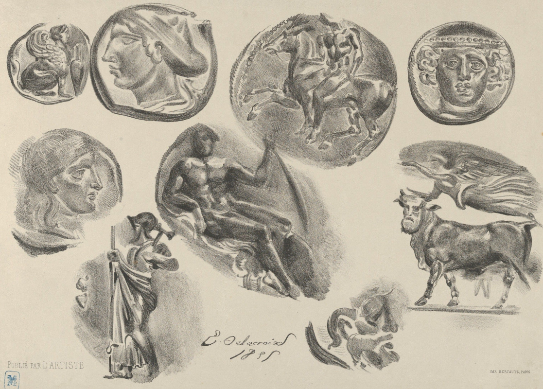 Eugene Delacroix. Nine ancient coins