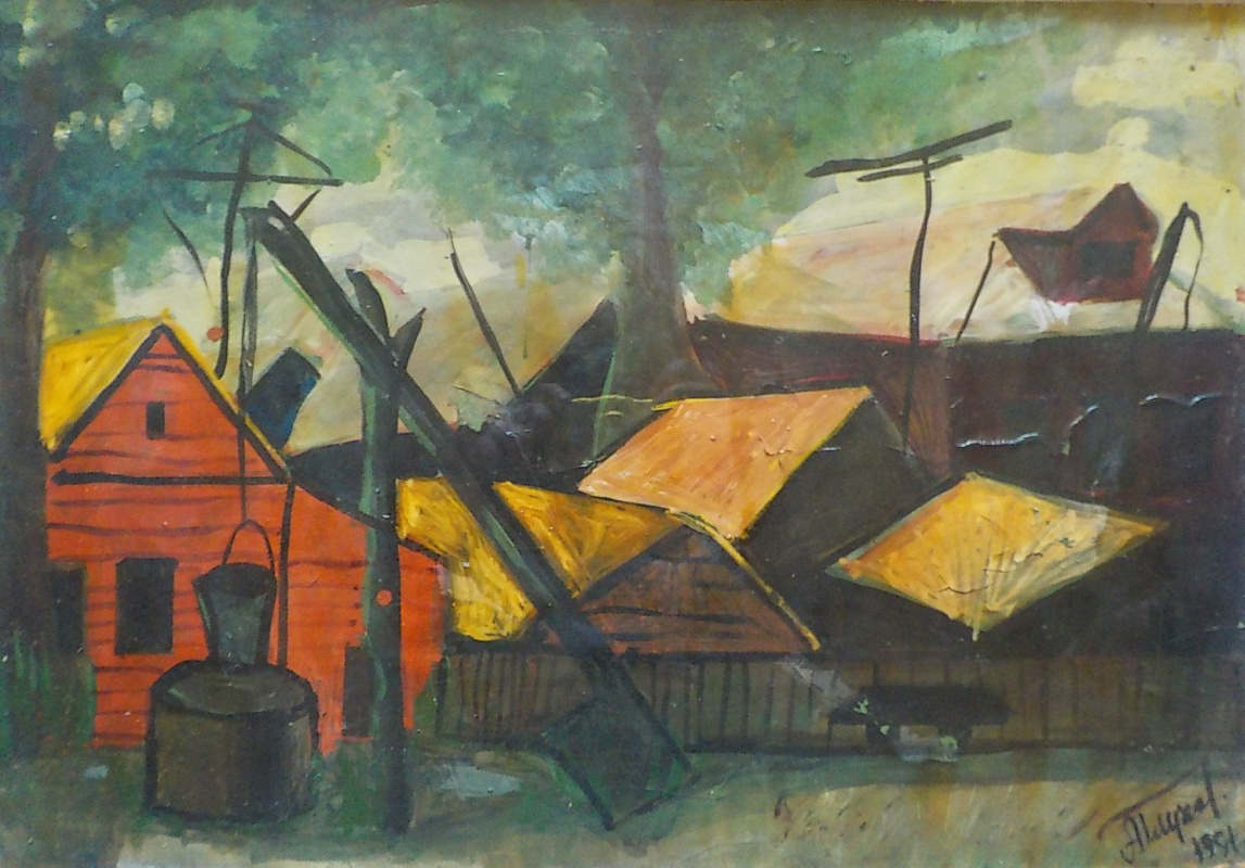 Alexandr Glukhov. Landscape with village houses