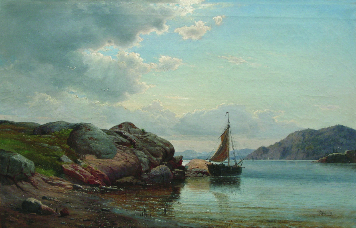 Lev Feliksovich Lagorio. Sailboat in the Bay