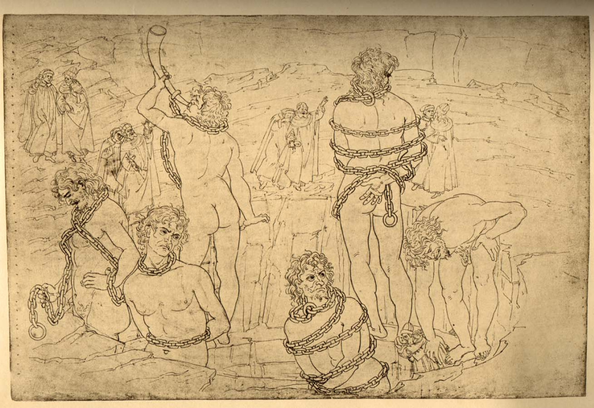 """Сандро Боттичелли. Ледяное озеро Коцит. Ад. Иллюстрация к """"Божественной комедии"""""""