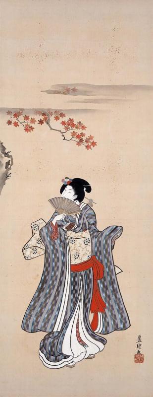 """Утагава Кунисада. Женщина с веером и кленовые листья. Серия """"Обычаи двенадцати месяцев"""""""