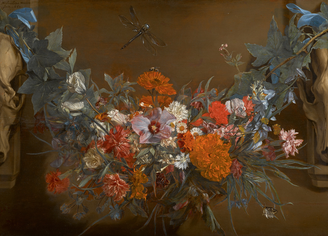 Mikaelina Votier. A garland of flowers, suspended between two animal skulls, a dragonfly above
