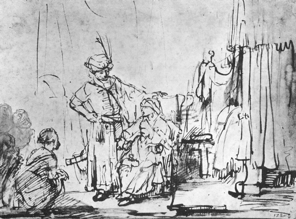 Рембрандт Харменс ван Рейн. Жена Потифара обвиняет Иосифа