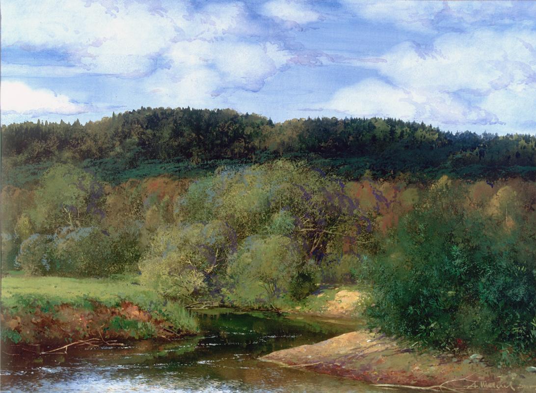 Alexander Shevelyov. White River. paper temperature 50 x 70 cm. 2000