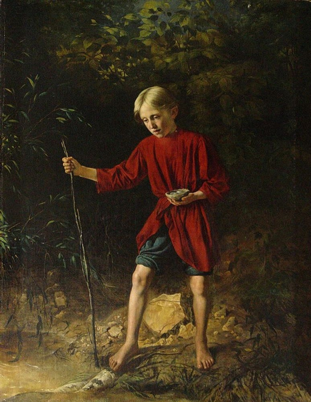 Vasily Vladimirovich Pukirev. Boy with bird's nest.