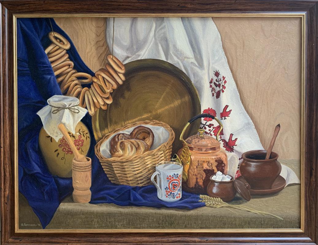 Anna Pimenova. Still life with bagels
