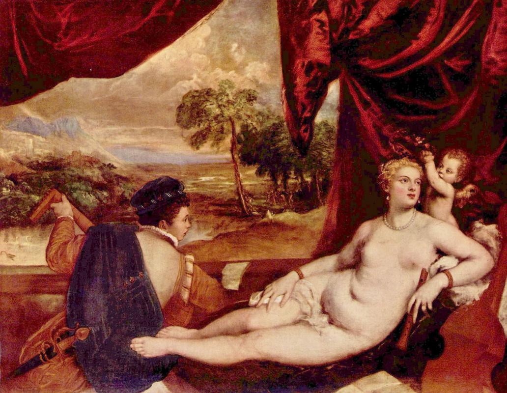 Тициан Вечеллио. Венера и кавалер, играющий на лютне