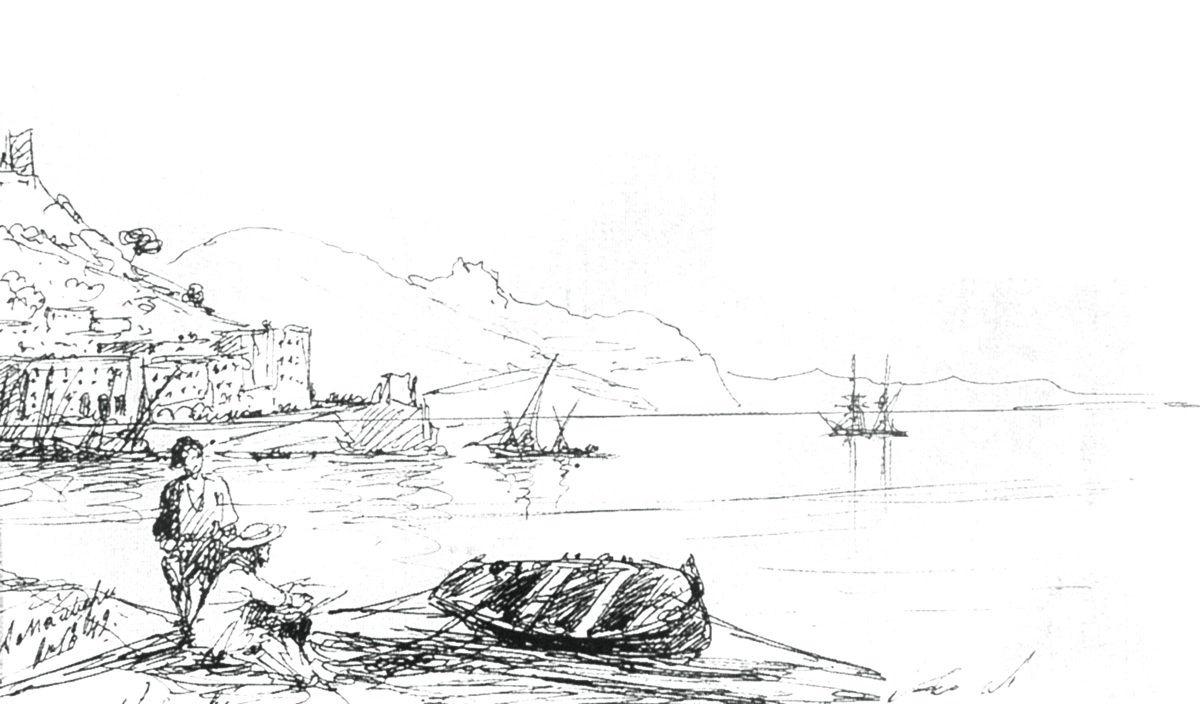 Иван Константинович Айвазовский. Бухта Амальфи в 1842 году. Набросок