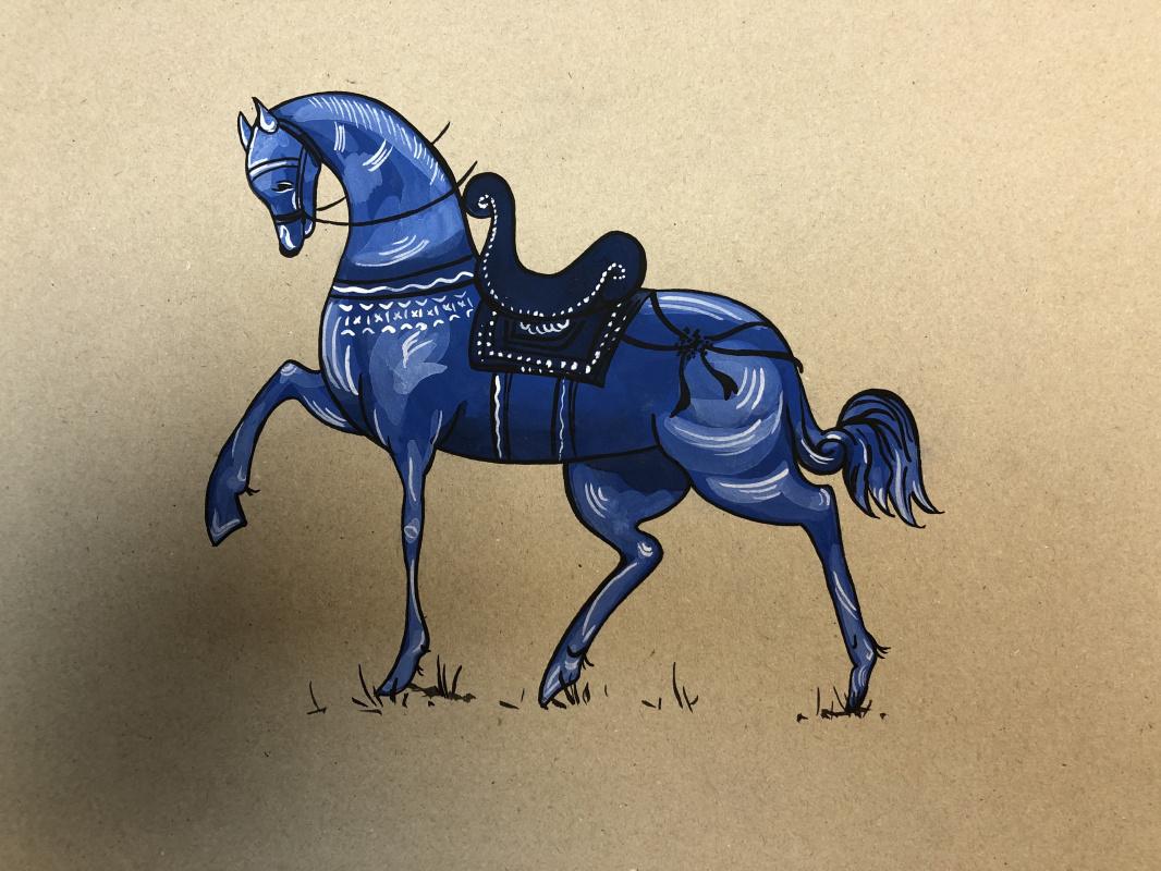 Vasilisa Shaposhnikova. Blue horse