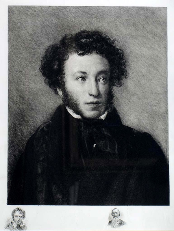 Mikhail Viktorovich Rundaltsov. A. S. Pushkin, with portraits of the remarks of O. A. kiprenskii, and P. A. Efremov. 1903. Etching