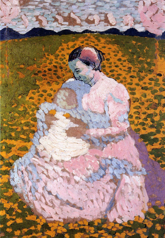 Cuno Amiè. Mother and child on a Sunny meadow