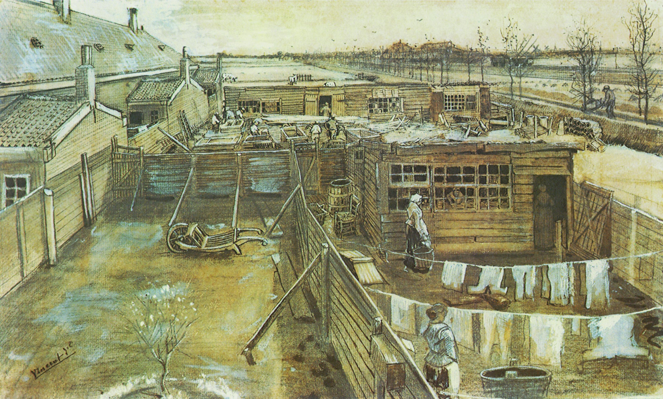 Vincent van Gogh. Carpenter shop and Laundry from the window of the artist's Studio