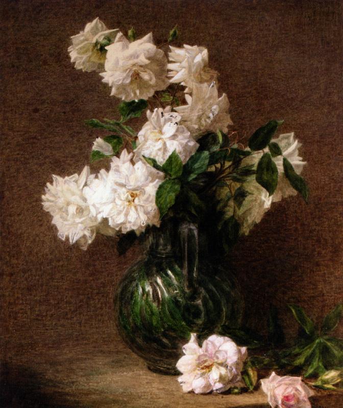 Виктория Дюбург (Фантен-Латур). Белые розы в кувшине