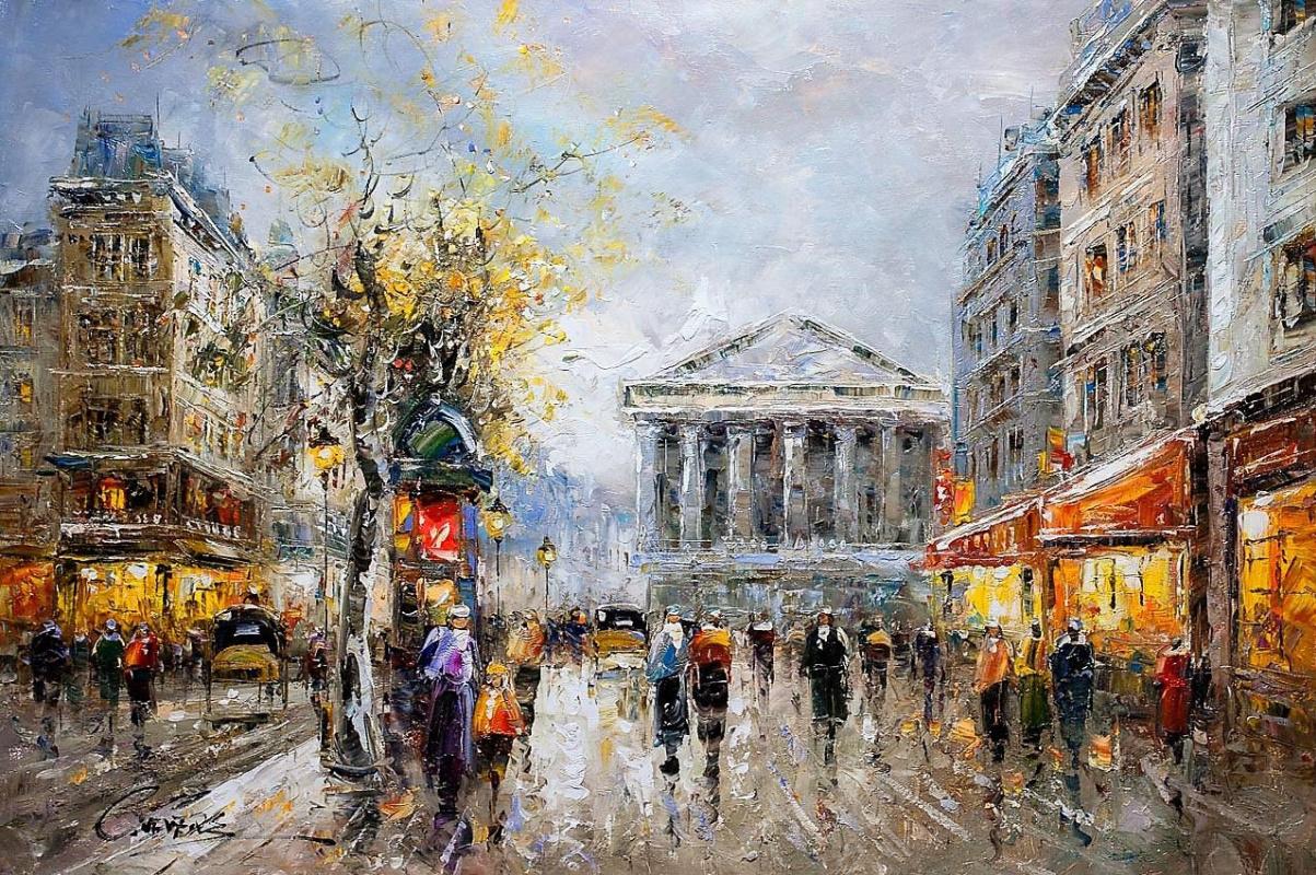 """(no name). Landscape of Paris by Antoine Blanchard """"Paris, Rue Tronchet"""""""