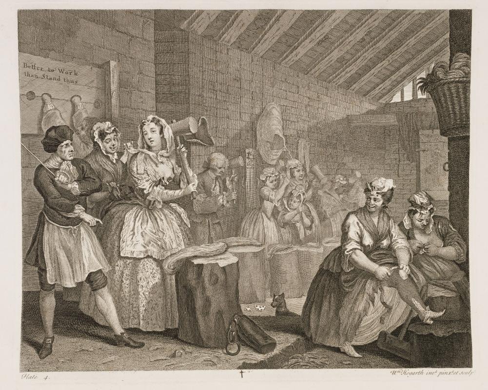 William Hogarth. Career prostitutes. The scene in Bradyville