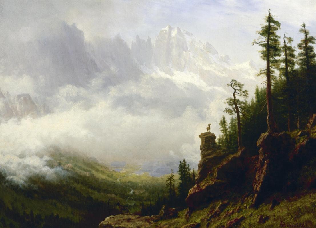 Альберт Бирштадт. Горный пейзаж. Сьерра-Невада, Калифорния
