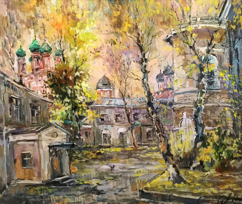 Anna Anatolyevna Charina. The sun is setting. Courtyard at the Petrovsky Monastery