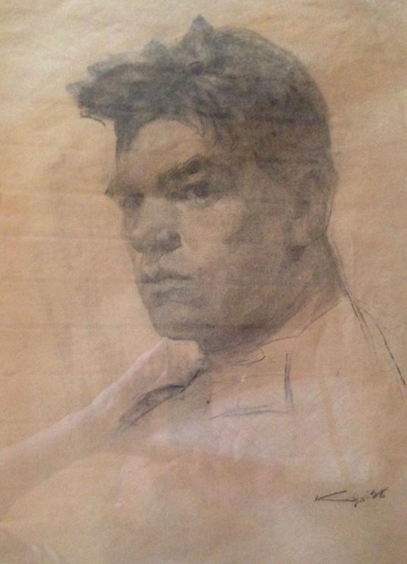 "Константин Петрович Фролов. ""Автопортрет"",1946г., б/уголь,растушевка, 47х32,5"