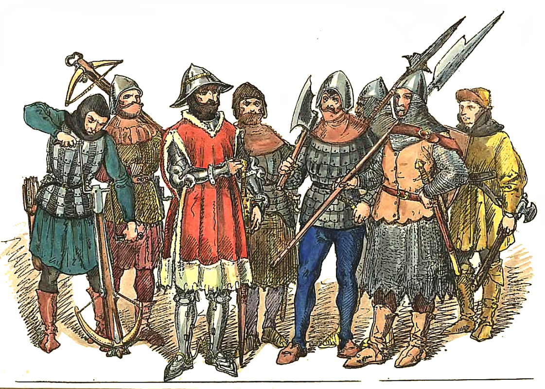 "Jan Matejko. Polish soldiers 1447 - 1492: crossbowmen, heavy infantrymen and halberds. ""Polish clothes, 1200 - 1795"""