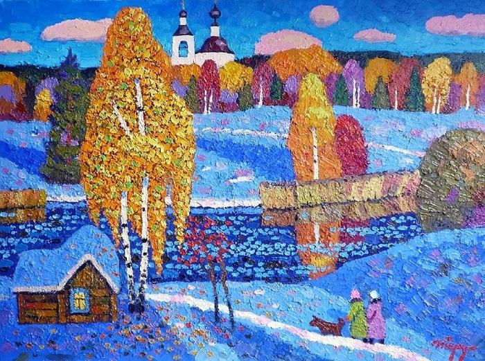 Igor Zagrievich Berdyshev. First snow in Krutovo