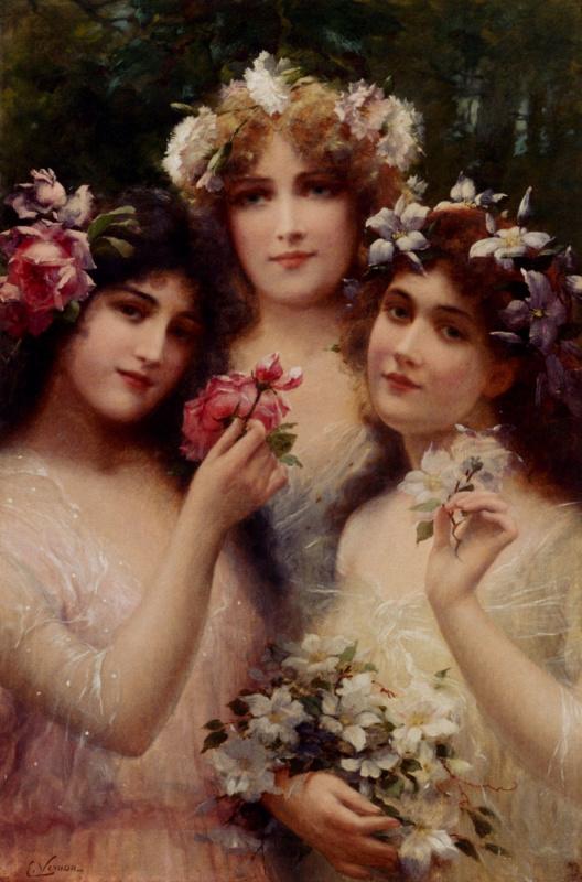 Emile Vernon. Three girls