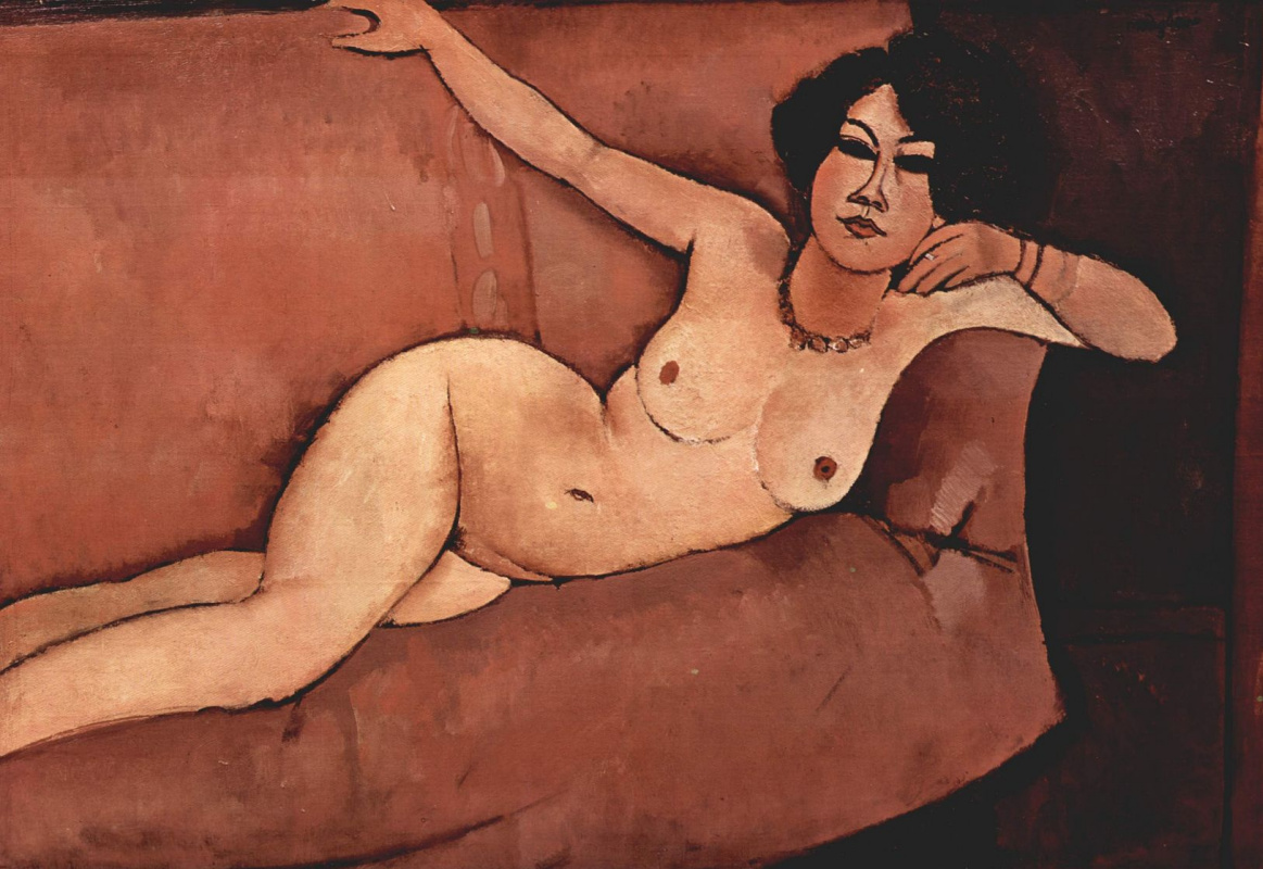 Amedeo Modigliani. Almeida. Nude on the sofa