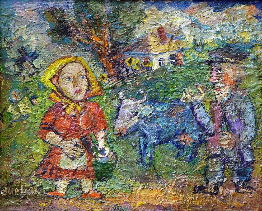 Давид Давидович Бурлюк. Крестьянская пара с коровой и гусями