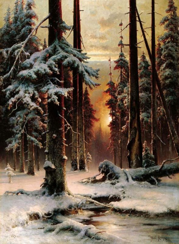 Юлий Юльевич Клевер. Зимний закат в еловом лесу