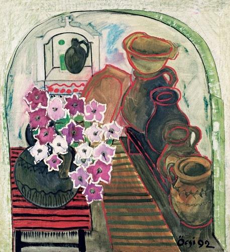 Ференц Семан. Кувшин с цветами в интерьере